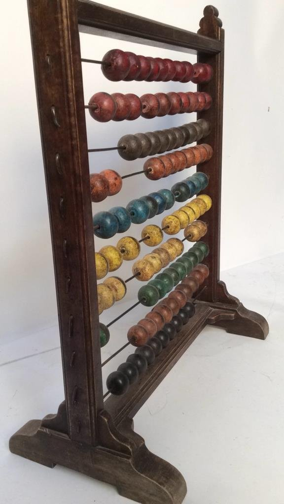 Antique painted wood and metal Abacus - 8