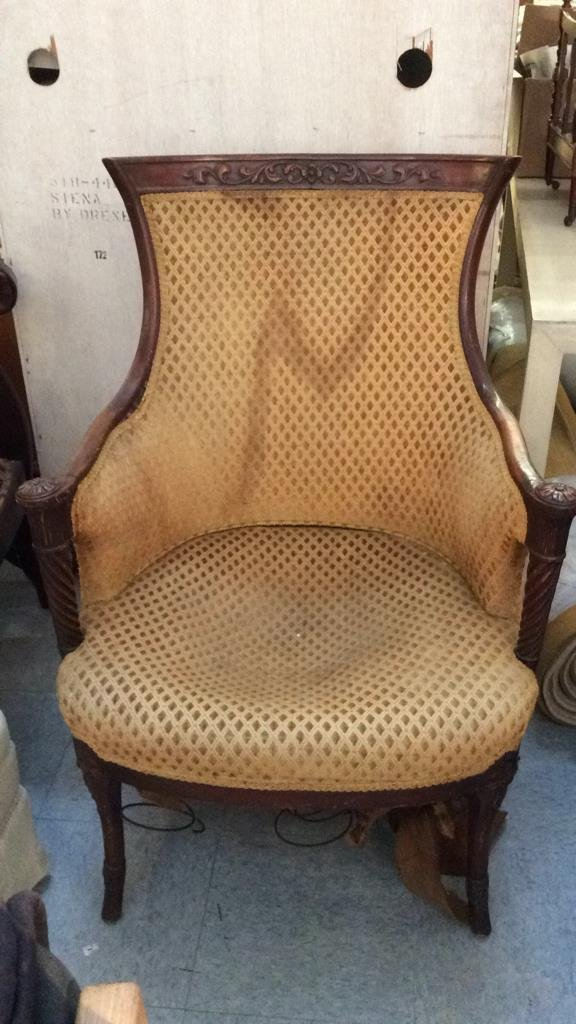 vintage carved wood frame arm chair