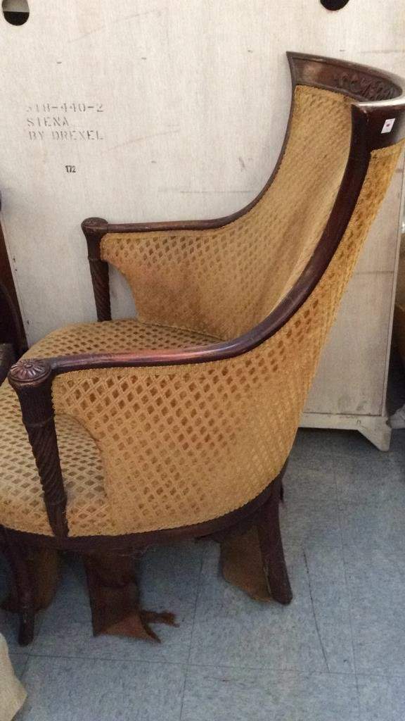 vintage carved wood frame arm chair - 2