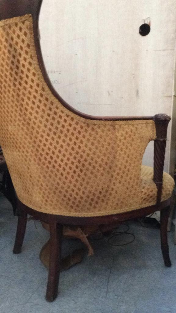 vintage carved wood frame arm chair - 4