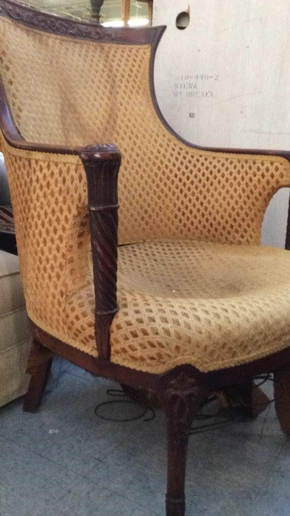 vintage carved wood frame arm chair - 5