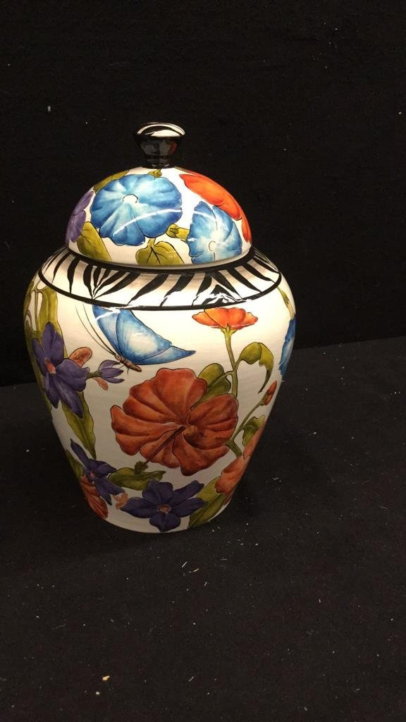 """3 """"Made in Zim"""" Hand Painted African Pottery - 2"""