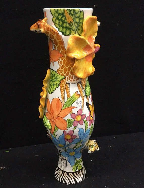 Hand Painted Africa Vase with 3D flora and Fauna