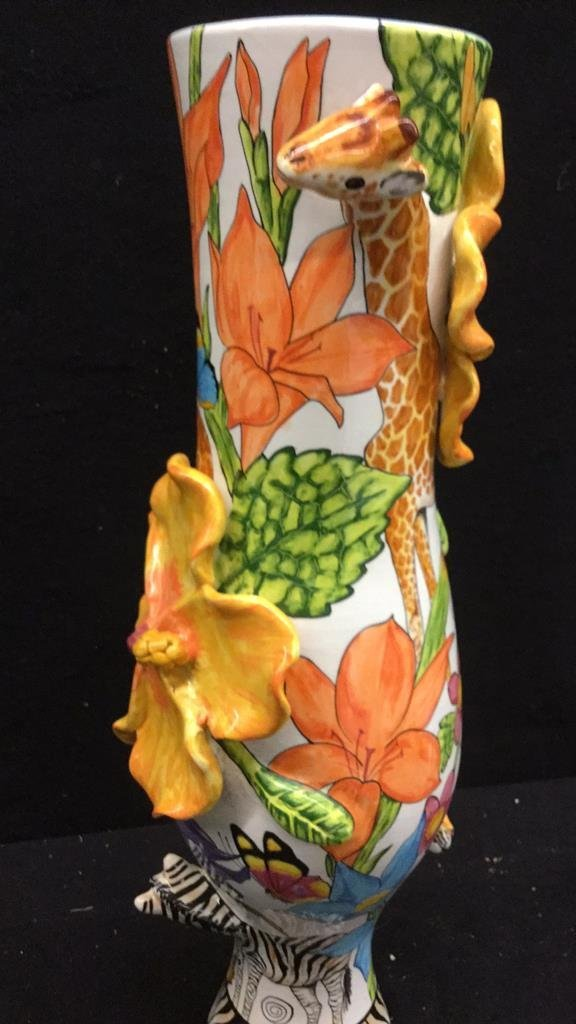 Hand Painted Africa Vase with 3D flora and Fauna - 2