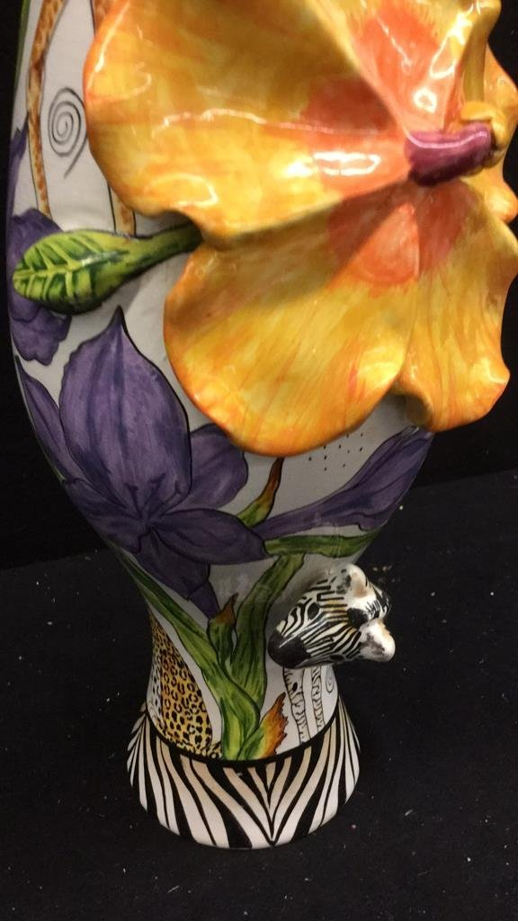 Hand Painted Africa Vase with 3D flora and Fauna - 3