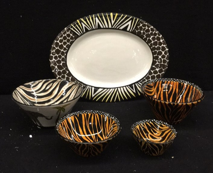5 Hand Paired Striped African Dishes