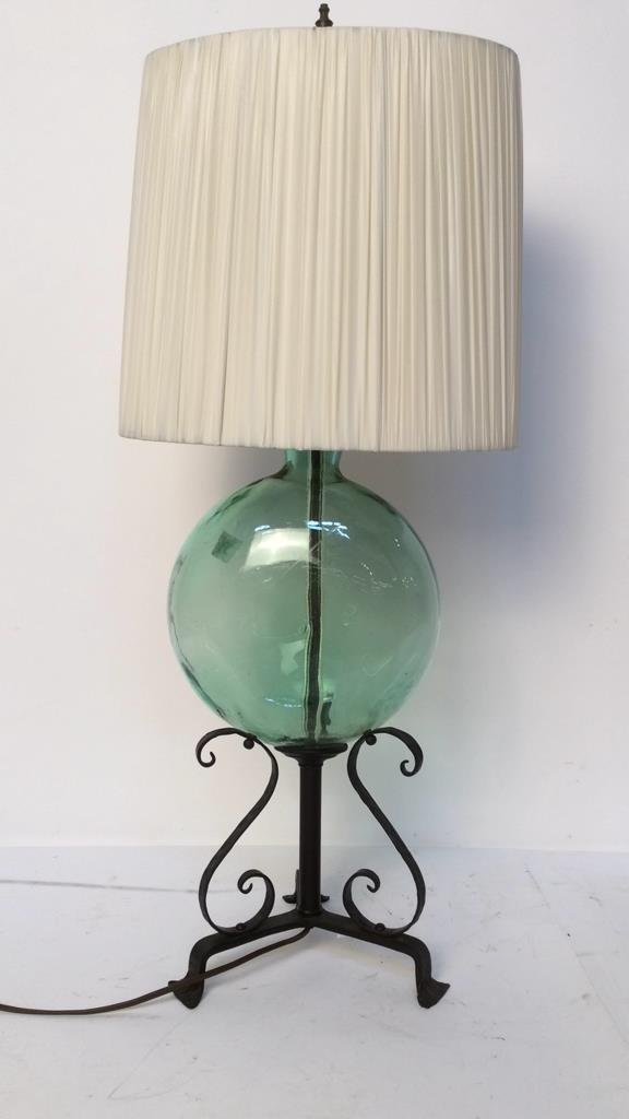 vintage green glass and iron lamp