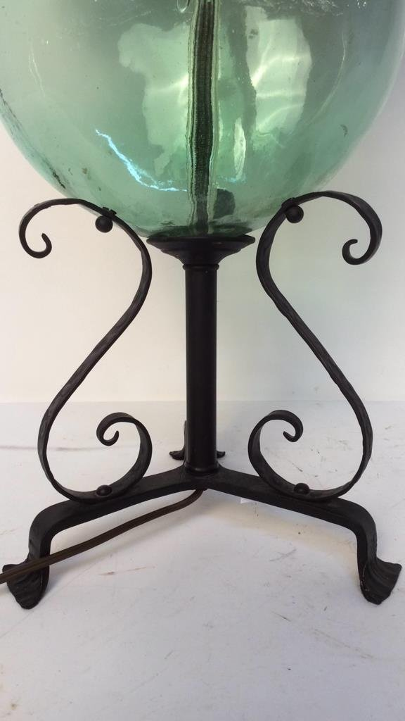 vintage green glass and iron lamp - 2