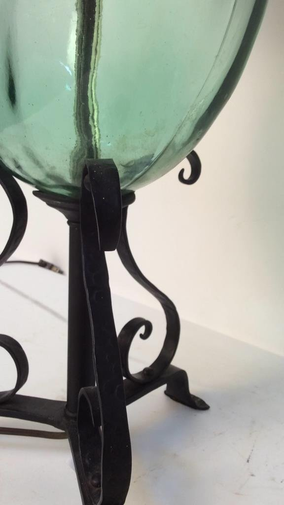 vintage green glass and iron lamp - 3
