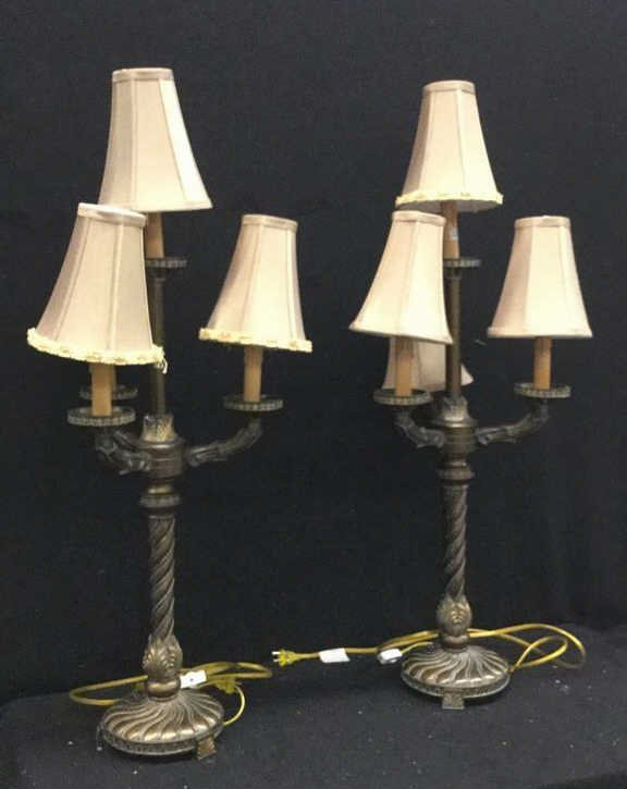 Pair of 3 Arm Candelabra Style Table Lamps