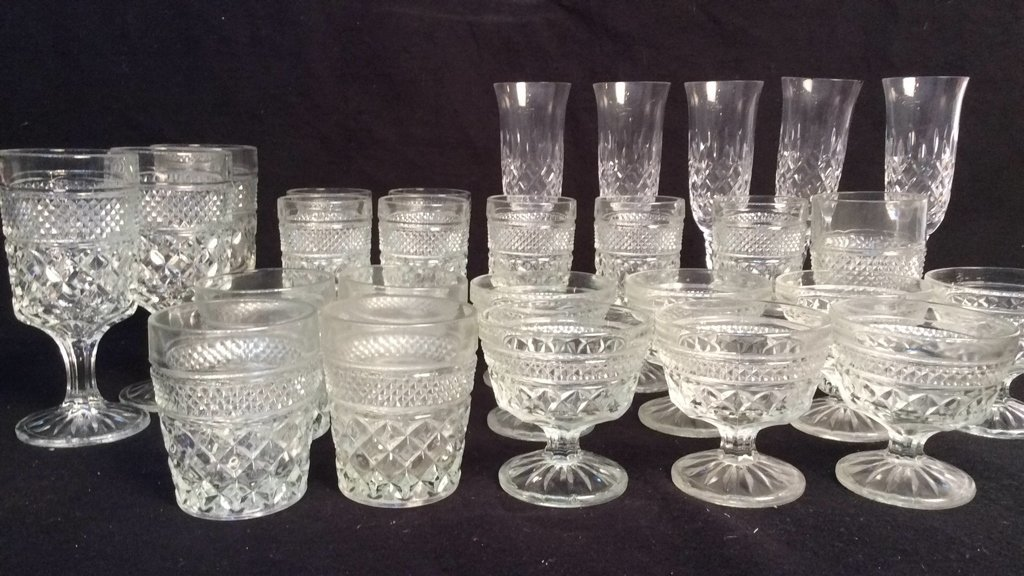 group vintage cut glass and Crystal stem and bar