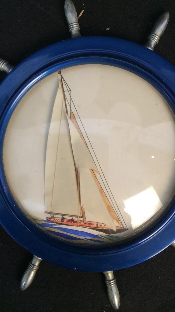 mixed media sailboat in ship wheel frame - 2