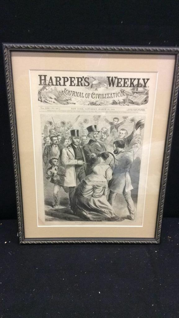 """Framed Harpers Weekly Cover """"Hurrah for Grant"""""""