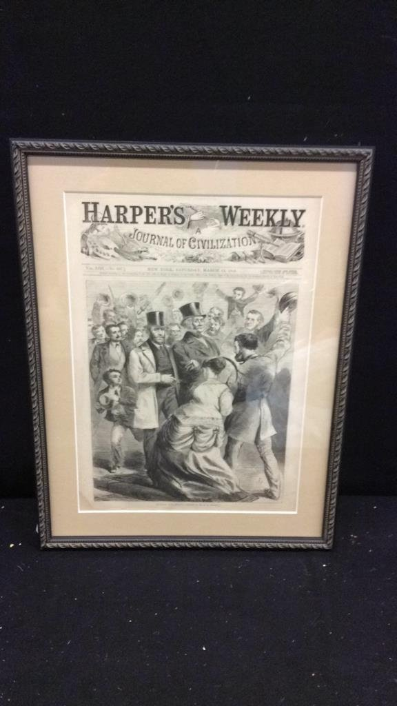 """Framed Harpers Weekly Cover """"Hurrah for Grant"""" - 2"""