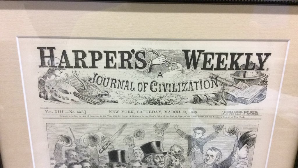 """Framed Harpers Weekly Cover """"Hurrah for Grant"""" - 3"""