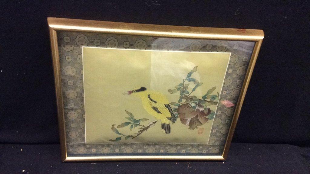 Framed Asian Bird Tapestry