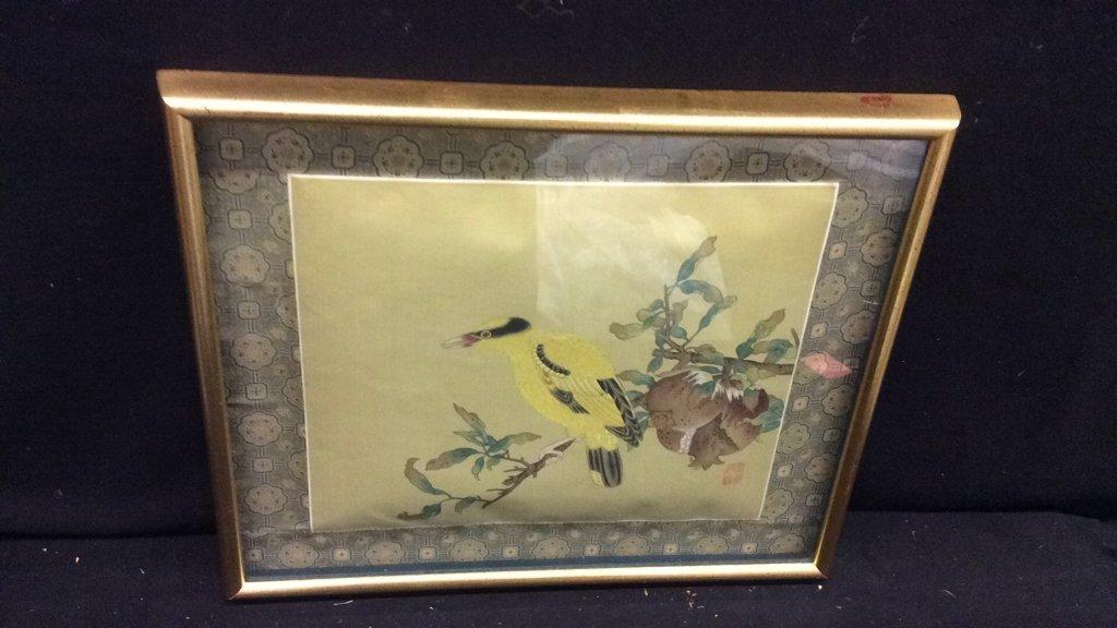 Framed Asian Bird Tapestry - 2