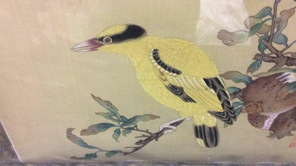 Framed Asian Bird Tapestry - 4