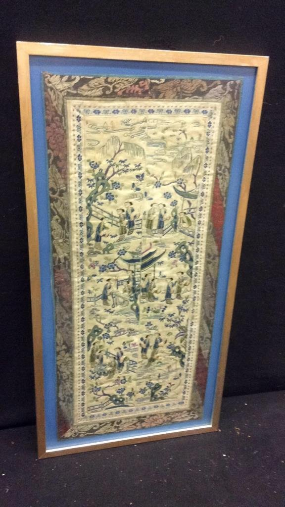 Antique East Asian Framed Tapestry