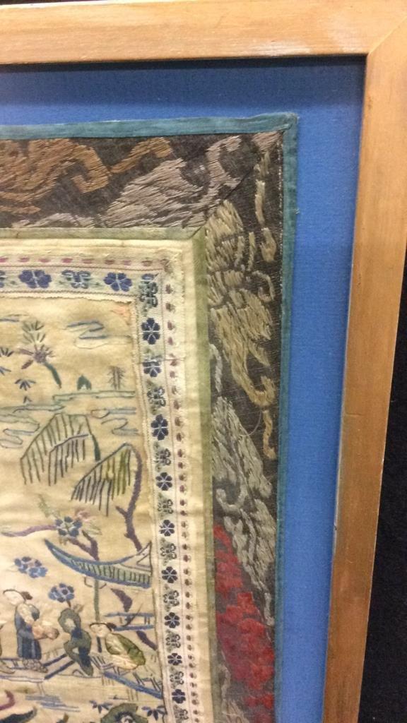 Antique East Asian Framed Tapestry - 3