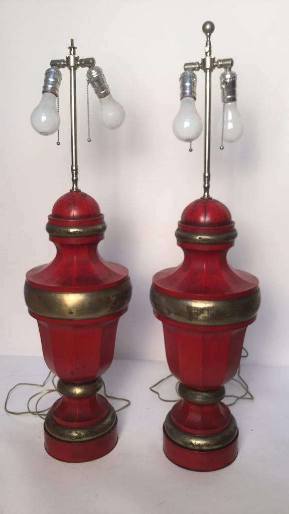 Pair of Red Vintage Metal Table Lamps