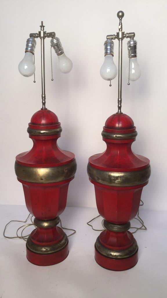 Pair of Red Vintage Metal Table Lamps - 2