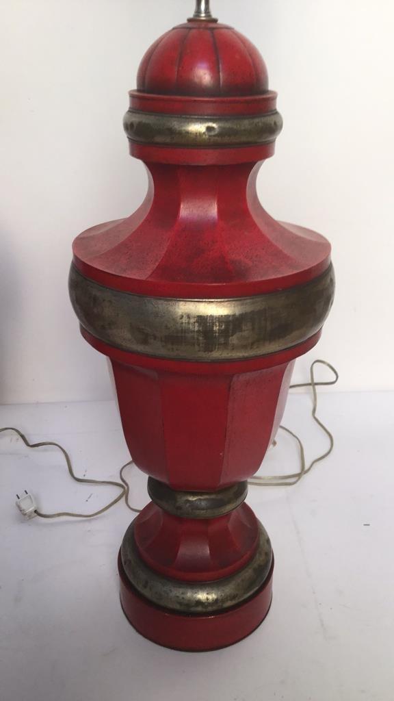Pair of Red Vintage Metal Table Lamps - 3