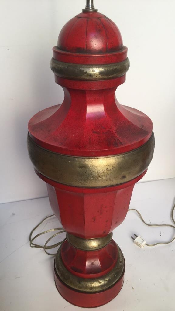 Pair of Red Vintage Metal Table Lamps - 5