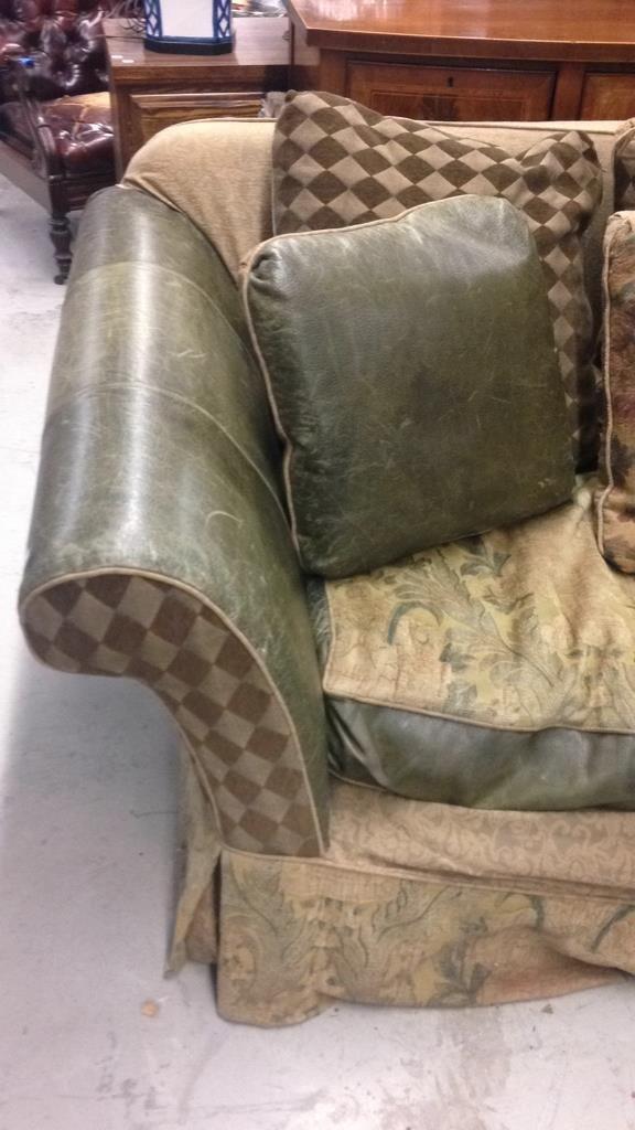 Custom Green Leather Sofa - 2