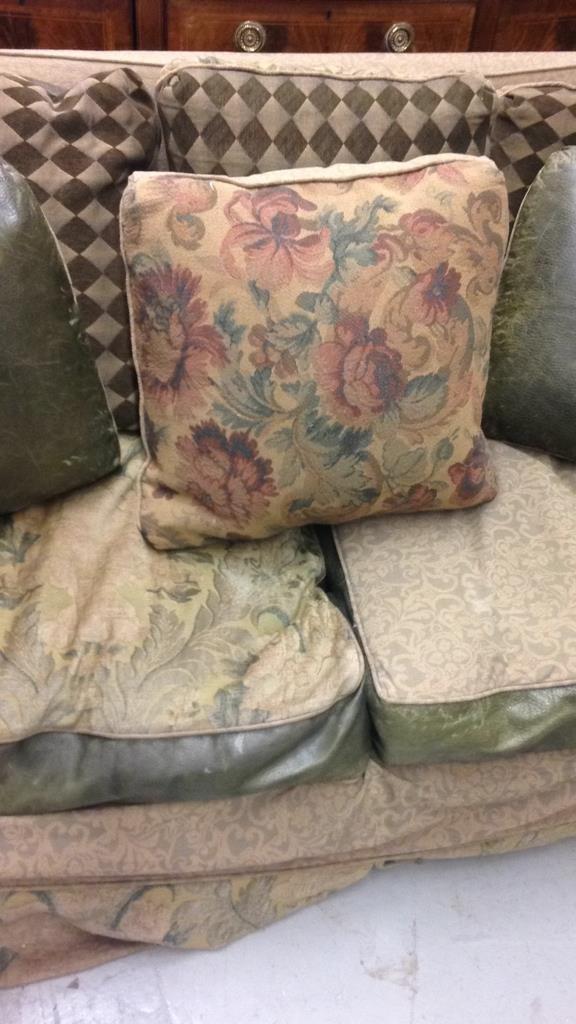 Custom Green Leather Sofa - 3