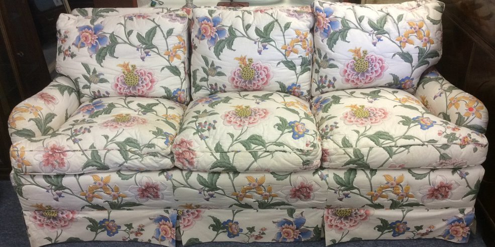 Three Person Sofa - White / Multicolored Floral