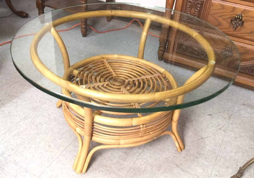 Vintage Glass Topped Bamboo Coffee Table