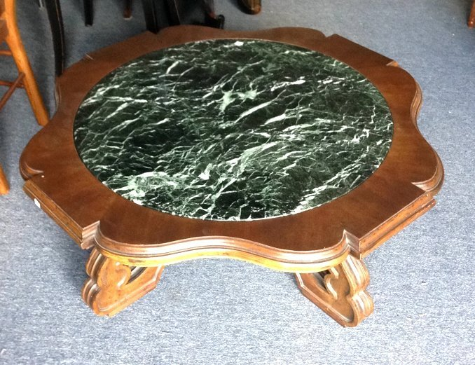 Wood & Green Marble Round Coffee Table