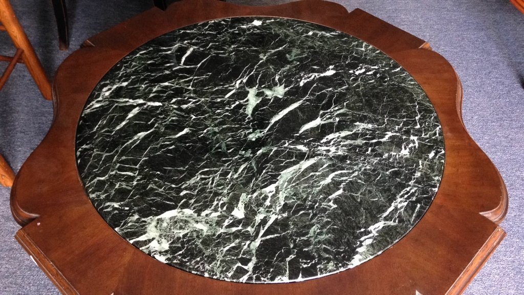 Wood & Green Marble Round Coffee Table - 2