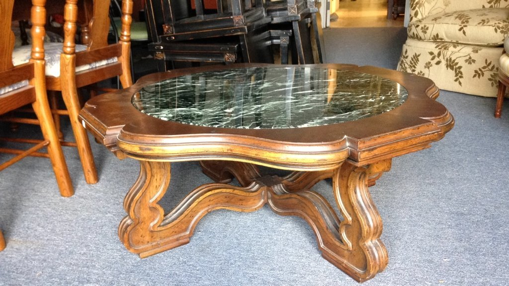 Wood & Green Marble Round Coffee Table - 3