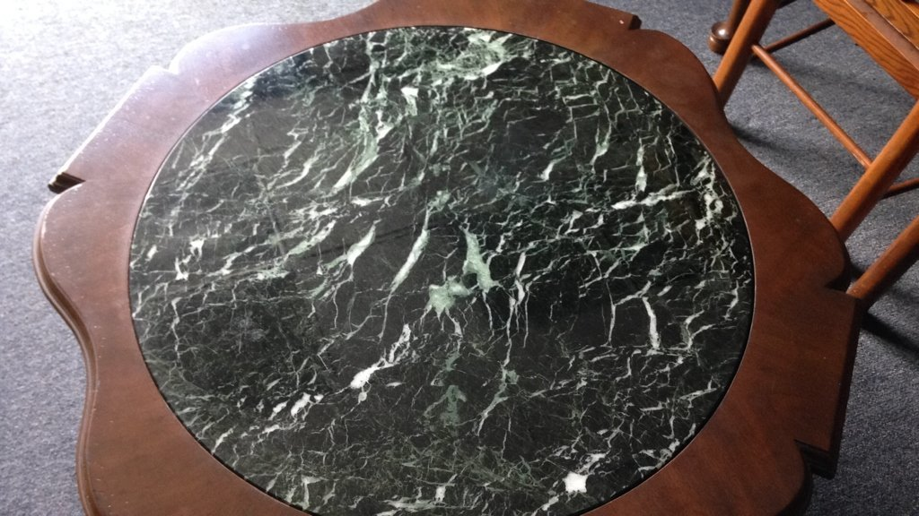 Wood & Green Marble Round Coffee Table - 5