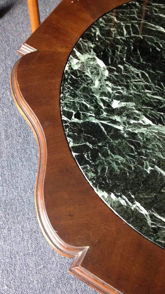 Wood & Green Marble Round Coffee Table - 6