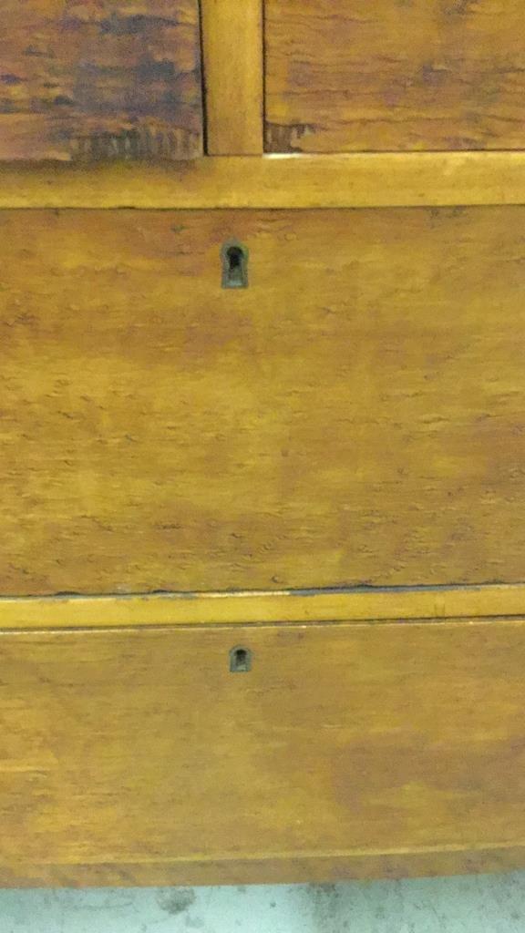Antique Bird's Eye Maple Bow Front Dresser - 4