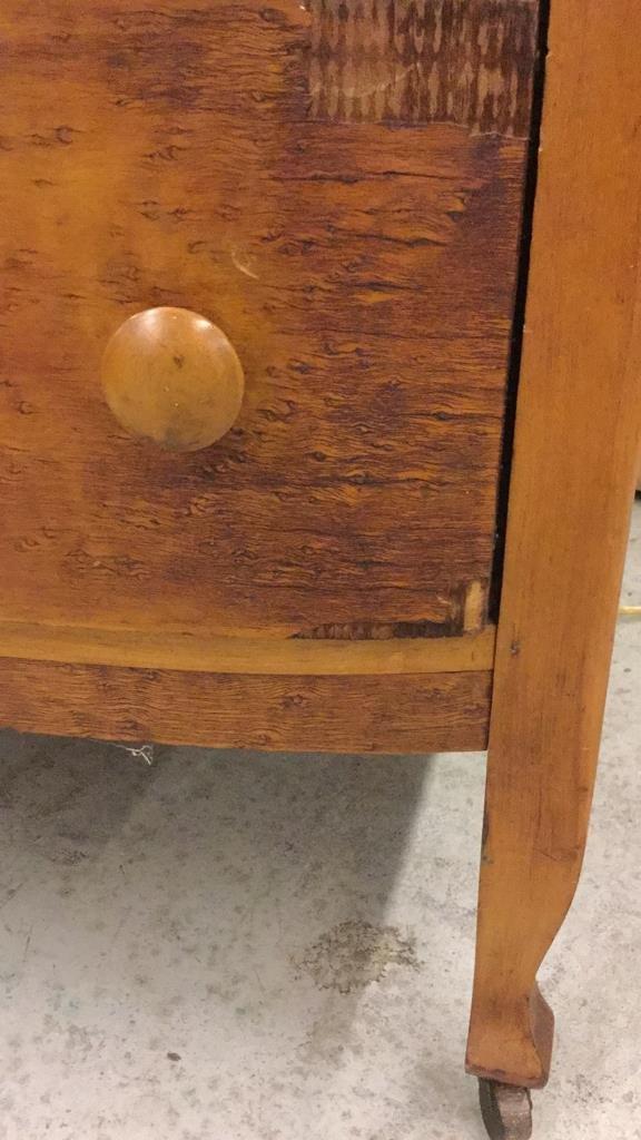Antique Bird's Eye Maple Bow Front Dresser - 6