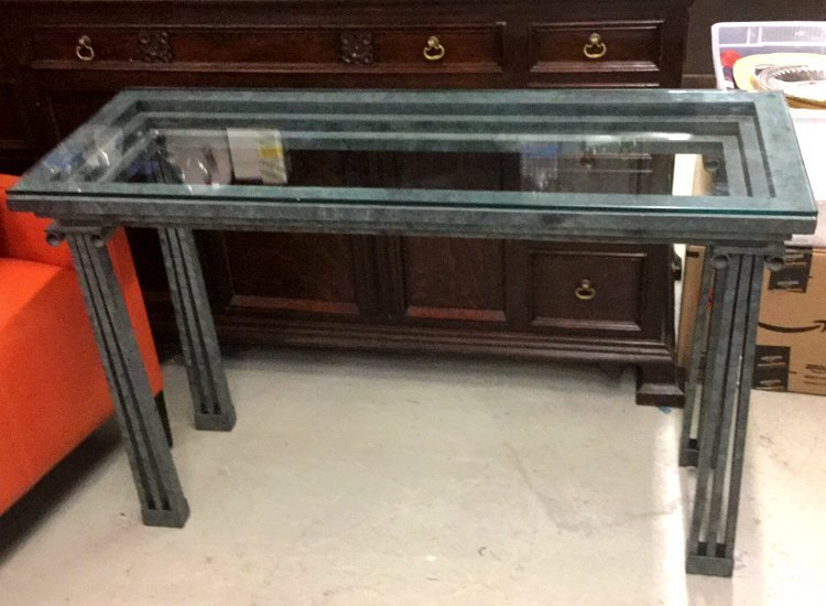 Green Metal Roman Style Console Table