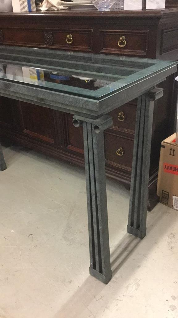 Green Metal Roman Style Console Table - 2