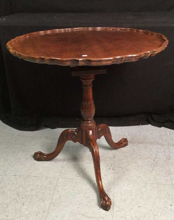 Carved Wood Pie Table with Scalloped Lip
