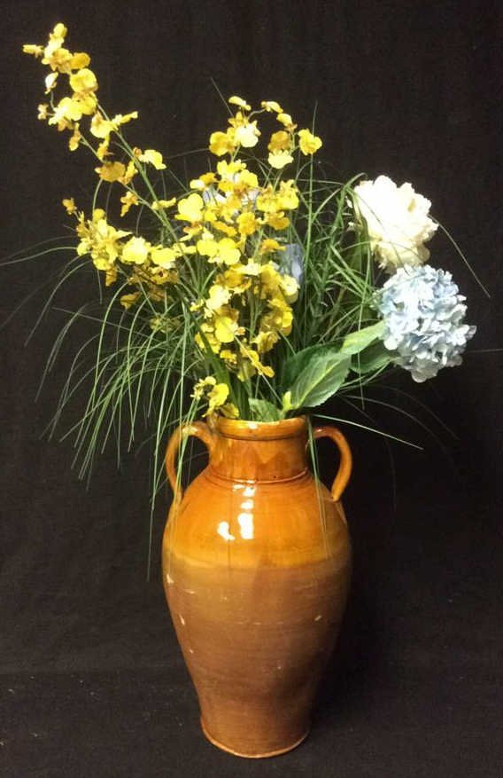 Orange Brown Glazed Jug Vase & Flowers