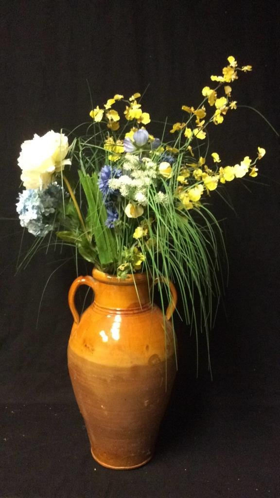Orange Brown Glazed Jug Vase & Flowers - 4