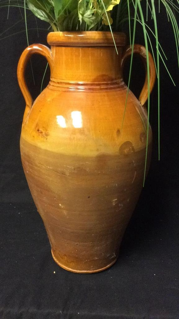 Orange Brown Glazed Jug Vase & Flowers - 5