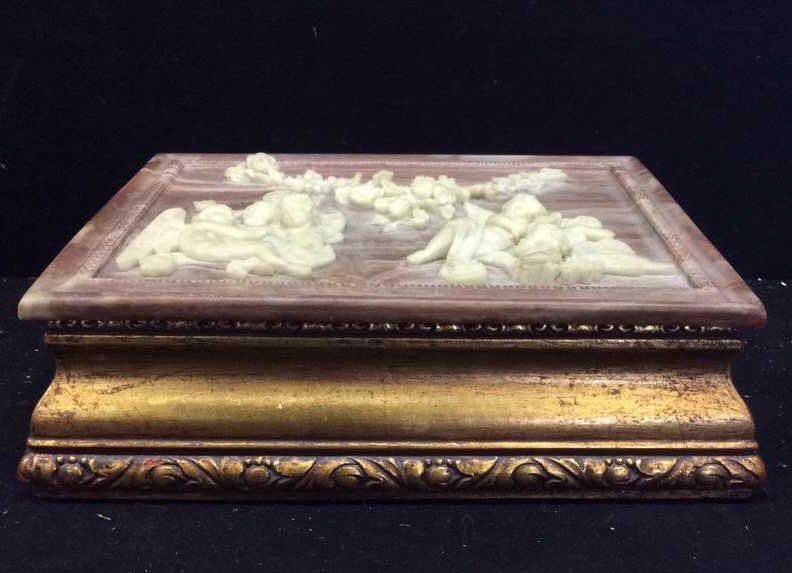 Stone and Gold Leaf Wooden Jewelry Box