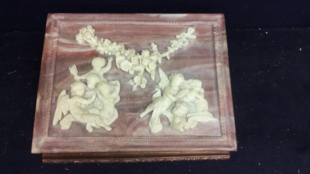 Stone and Gold Leaf Wooden Jewelry Box - 2