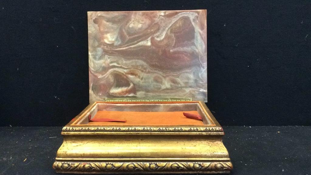Stone and Gold Leaf Wooden Jewelry Box - 3