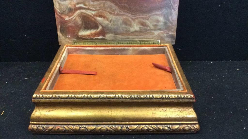 Stone and Gold Leaf Wooden Jewelry Box - 4
