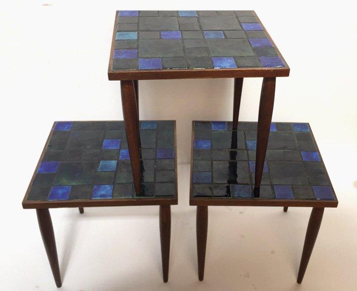 Group Lot Three Mid Century Mosaic Tables